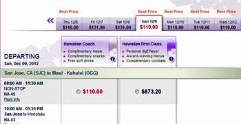 San Jose to Maui airfare sale